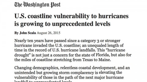 U.S. Coastline Vulnerability Growing to Unprecendent Levels