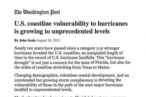 U.S. Coastline Vulnerability Growing to Unprecendent Levels